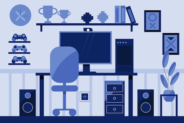 Płaski pokój gracza ilustracji
