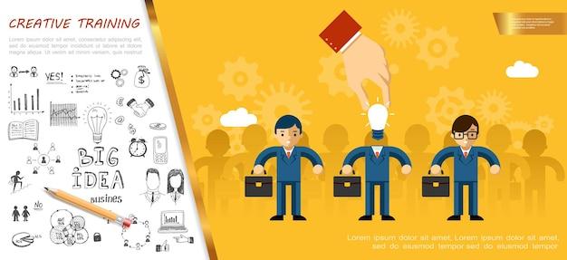 Płaski pomysł na biznes z męską ręką zastępuje głowę biznesmena z żarówką i ręcznie rysowanymi ikonami kreatywnego wielkiego pomysłu
