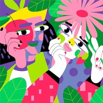 Płaski portret w stylu artystycznym w jasnych kolorach