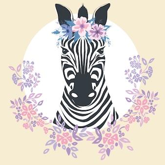 Płaski portret zebry dla karty, afisz, zaproszenia, książki, plakatu, notesu, szkicownika.