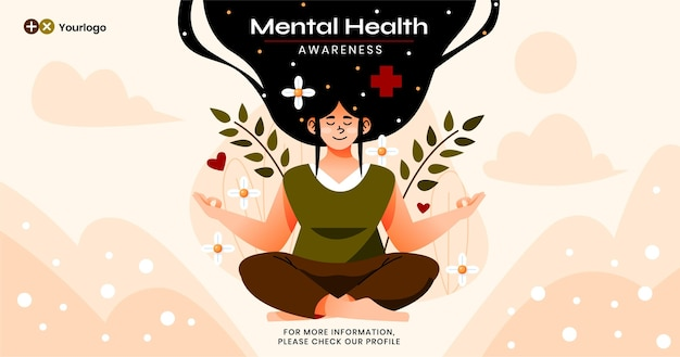 Płaski post na facebooku dotyczący zdrowia psychicznego