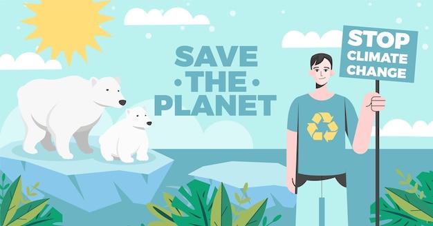 Płaski post na facebooku dotyczący zmiany klimatu