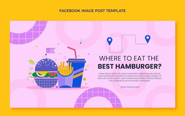 Płaski post na facebooku z hamburgerem
