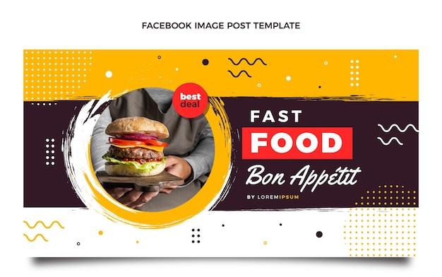 Płaski post na facebooku z jedzeniem