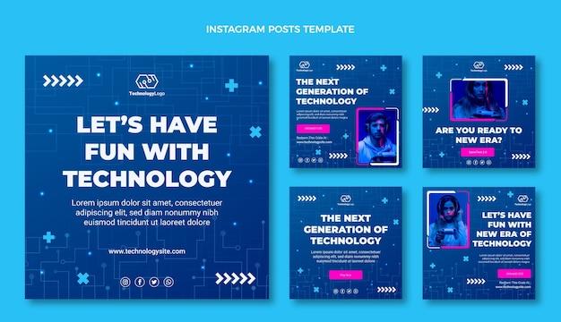 Płaski post na instagramie o minimalnej technologii