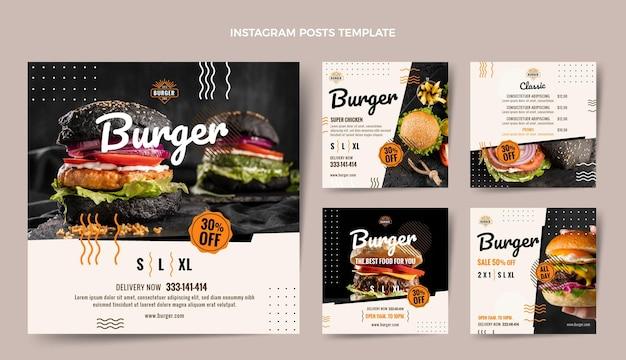 Płaski post na instagramie z burgerami