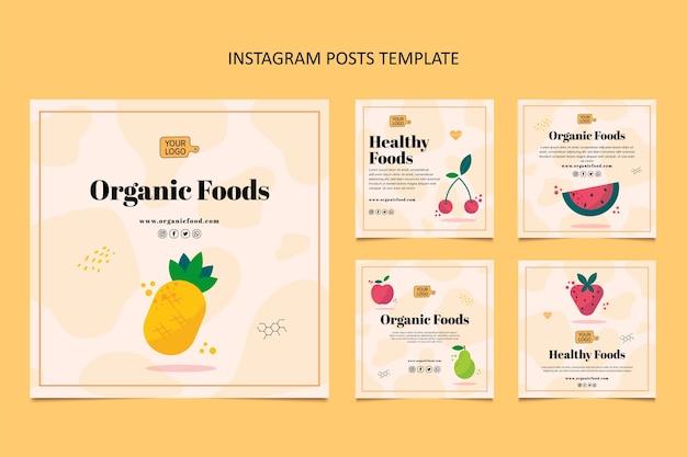 Płaski Post Na Instagramie Z Jedzeniem Premium Wektorów