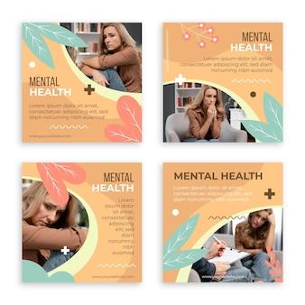 Płaski post na instagramie zdrowia psychicznego ze zdjęciem
