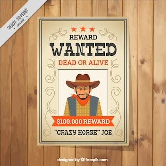Płaski poszukiwany plakat z pomarańczowymi szczegóły