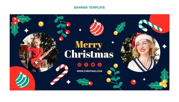 Płaski poziomy baner świąteczny