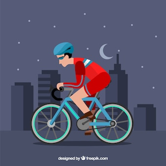 Płaski profesjonalny rowerzysta w mieście