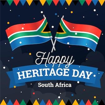 Płaski projekt dziedzictwa dzień w południowej afryce ilustracji