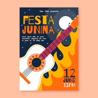Płaski projekt festa junina plakat z gitarą
