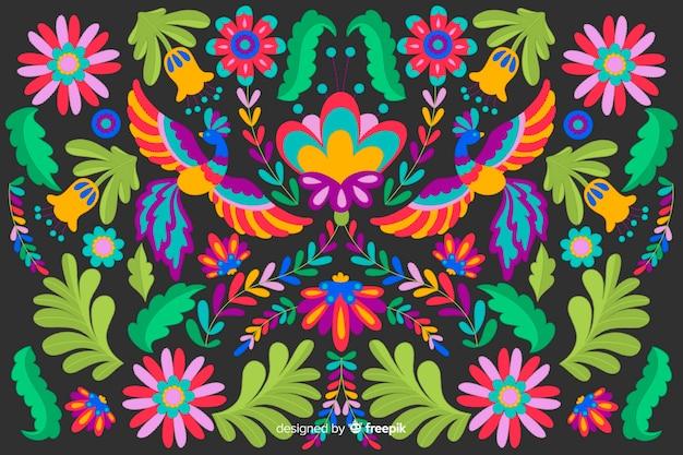 Płaski projekt haftu kwiatowy tło