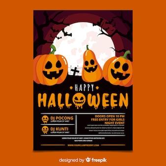 Płaski projekt halloween party plakat szablon