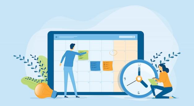 Płaski projekt ilustracji koncepcja planowania biznesowego i zespół ludzi biznesu pracujących z cyfrowym kalendarzem online