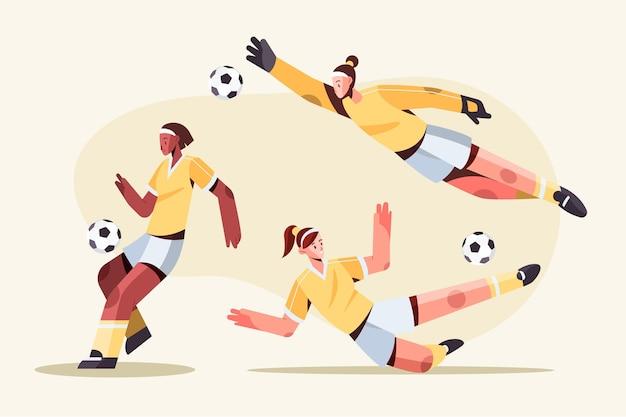 Płaski projekt ilustracji piłkarzy