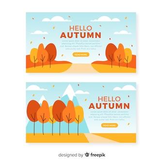 Płaski projekt jesień banery szablon