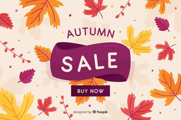 Płaski projekt jesień sprzedaż transparent