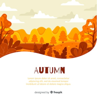 Płaski projekt jesień tło z liśćmi