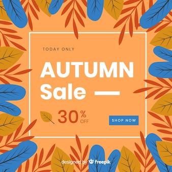 Płaski projekt jesieni sprzedaży tło