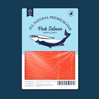 Płaski projekt opakowania ryb, wektor. różowe sylwetki łososia, panga i tuńczyka