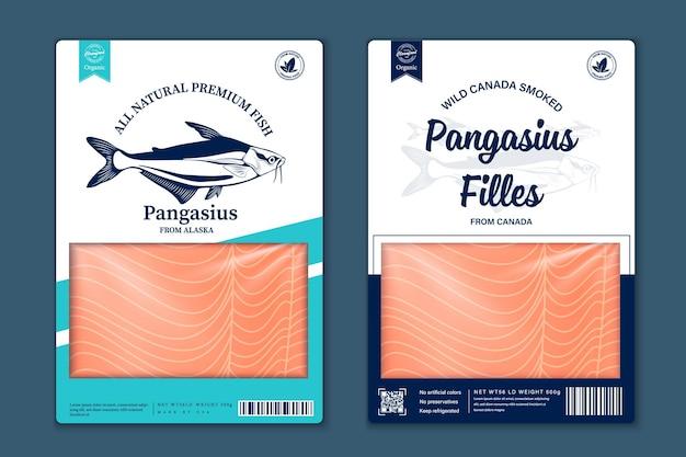 Płaski projekt opakowania rybnego sey, sylwetki ryb panga