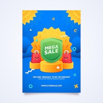 Płaski projekt plakatu sprzedaży