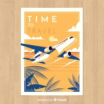 Płaski projekt retro podróży plakat