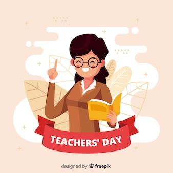 Płaski projekt światowego nauczyciela dnia tło