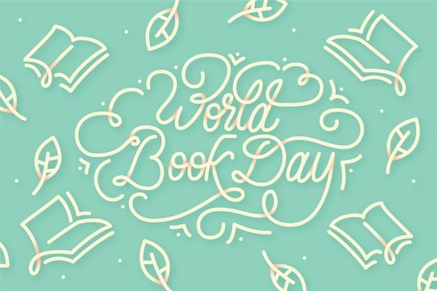 Płaski projekt światowy dzień książki napis