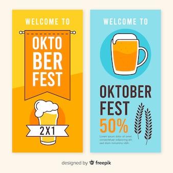 Płaski projekt szablon banery oktoberfest