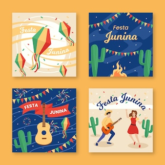 Płaski projekt szablonu karty festa junina pack