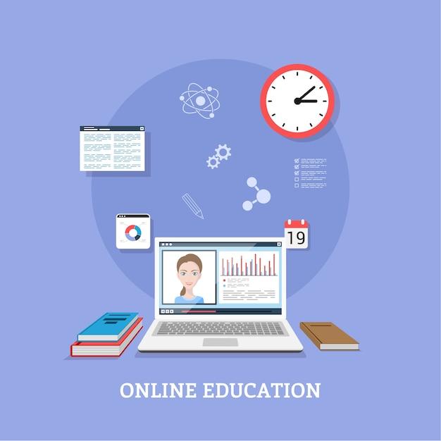 Płaski projekt szablonu na seminarium internetowe, koncepcja technologii edukacji na odległość
