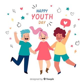 Płaski projekt tło dzień młodzieży