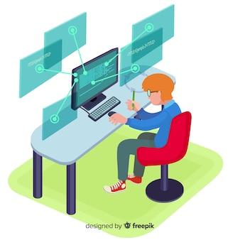 Płaski projekt wektor programista człowiek pracuje