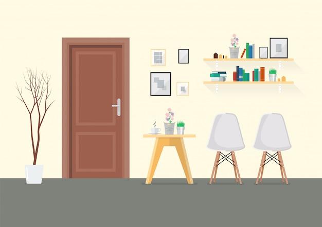 Płaski projekt wnętrza salonu z drewnianymi drzwiami