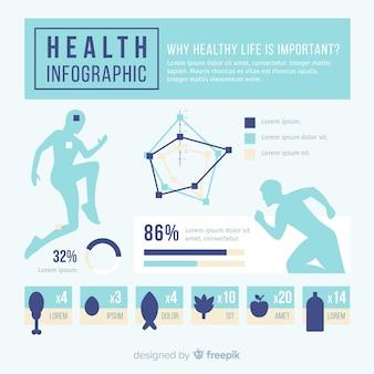 Płaski projekt zdrowie infographic szablon