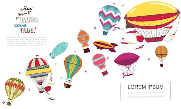 Płaski przestarzały transport lotniczy ze sterowcami i ilustracją kolorowych balonów na ogrzane powietrze