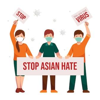 Płaski przystanek azjatycka ilustracja nienawiści