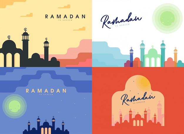 Płaski ramadan ilustracja tło zestaw