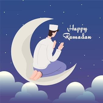Płaski ramadan ilustracja z osobą modlącą się