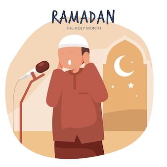 Płaski ramadan ilustracja z osobą mówiącą do mikrofonu