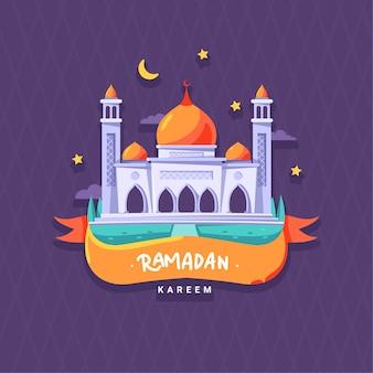 Płaski ramadan kareem design