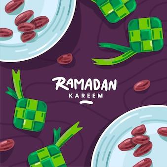 Płaski ramadan kareem pozdrowienia