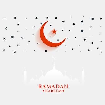 Płaski ramadan kareem pozdrowienie z księżycem i gwiazdą