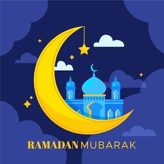 Płaski ramadan mubarak tło