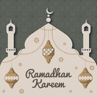Płaski ramadan w stylu papieru