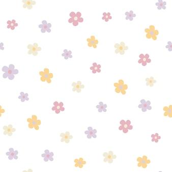 Płaski ręcznie rysowane kwiatowy wzór bezszwowych kolorów tekstura kreskówka z ładnymi kolorami