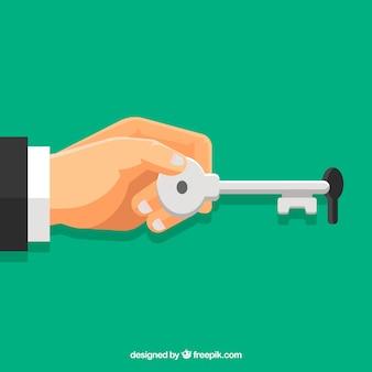 Płaski ręki mienia domu klucza tło
